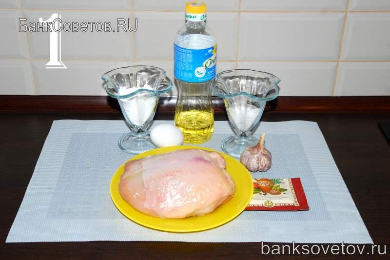 Ингредиенты для отбивных из куриного филе