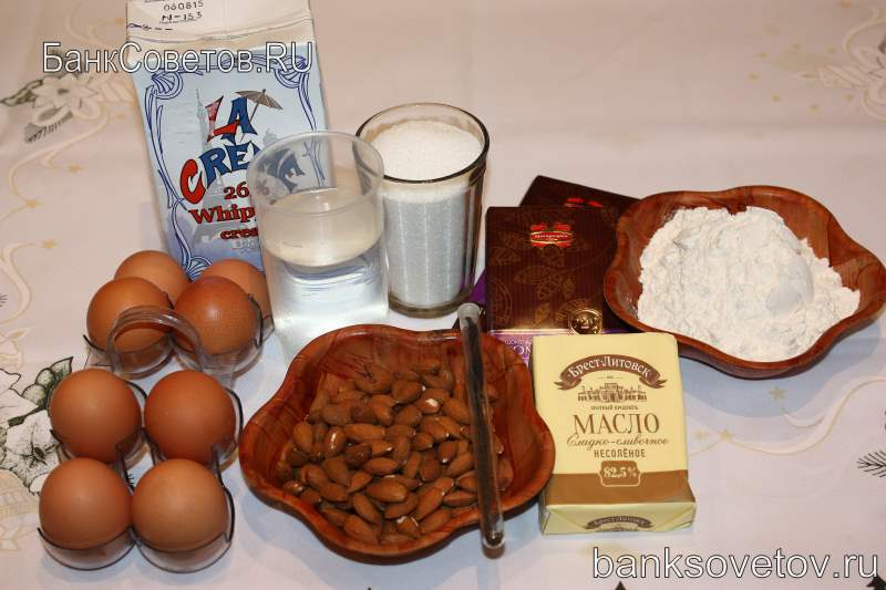 Ингредиенты для профитролей с заварными кремом