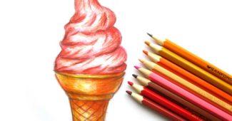 Как нарисовать мороженое рожок поэтапно